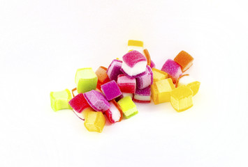 Colorful candy on white background.
