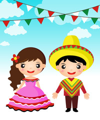 Mexican couple traditional costume cartoon boy girl.