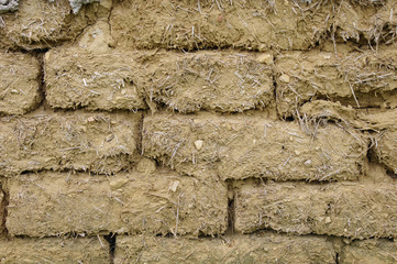 Old mud bricks wall