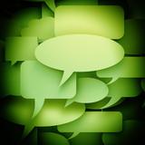 Green speech bubbles background - CGI 3d render poster