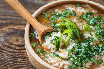 Meat soup with rice