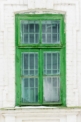 Old Green Wooden Window