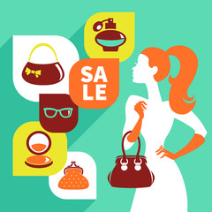 Beautiful woman silhouette with shopping icons.