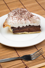 Chocolate Tart with cream and cocoa powder on the top
