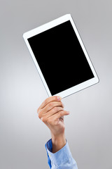 Man with blank screen of digital tablet