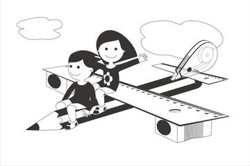 Avión y material escolar niñas BN 2