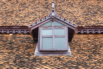 Ancient thai style window at roof