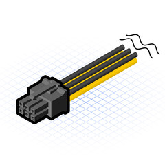 Isometric 6 Pin Connector Vector Illustration