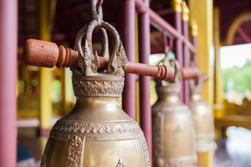 Buddhist bells hanging in temple