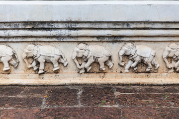 Detail of Carved Elephants on Thai temple