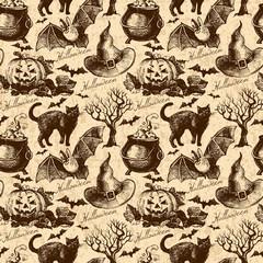 Halloween seamless pattern. Hand drawn illustration