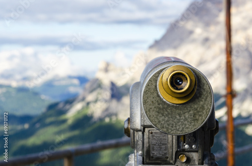 Foto op Canvas Bergen A binoculars with a wonderful view of a Dolomites Mountains