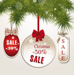 christmas discount tags with silk bows