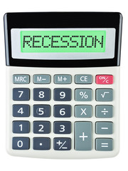 Calculator with RECESSION on display isolated on white