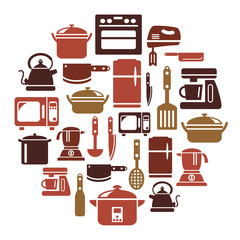 Kitchen Utensils and Appliances Icons in Circle Shape