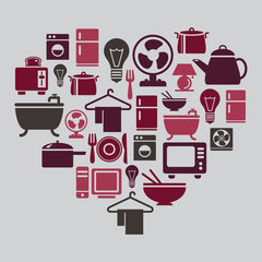 Houseware Icons in Heart Shape