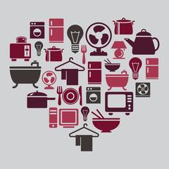 Houseware Icons in Heart Shape