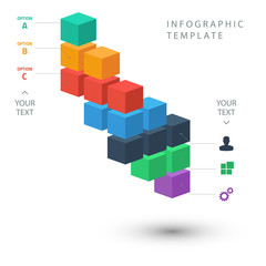Color cubes info graphic template on white background.