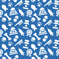 blue wallpaper with painted veterinary facilities