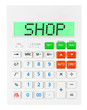 Calculator with SHOP on display isolated on white background