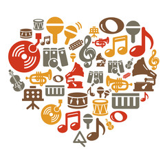 Music Icons in Heart Shape