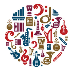 Music Icons in Circle Shape