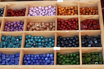 Colored ceramic beads