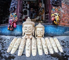 Wooden masks at Nepal market