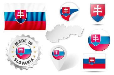 Set of flags, symbols etc. of Slovakia - isolated on white