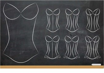 Illustration of Blank Oultines of Corsets with Different Styles