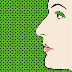 Illustration of Pop art style womans face with space for text