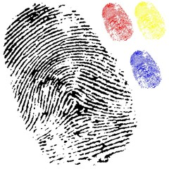 black isolated fingerprint with other colours