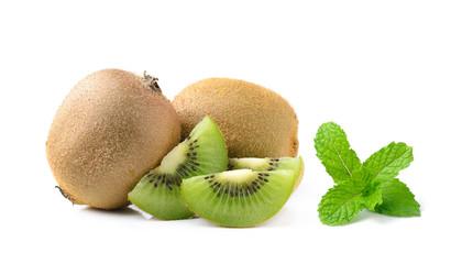 kiwi fruit and mint isolated on white background