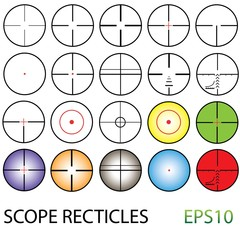 crosshairs set including colour reticles and night vision