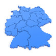 canvas print picture - 3D map of germany in blue