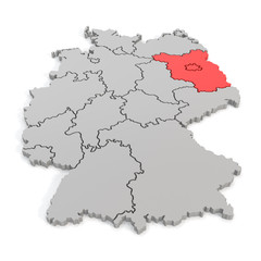 3D map of germany with focus to berlin and brandenburg