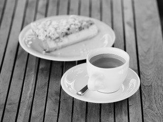 coffee and cake bw shot