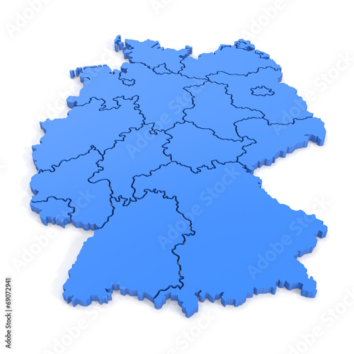 canvas print picture 3D map of germany in blue