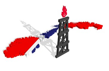 gas rig model near norway relief outline map textured by flag