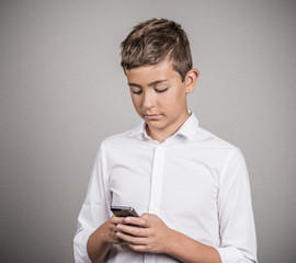Teenager texting on smart phone, addiction with social media
