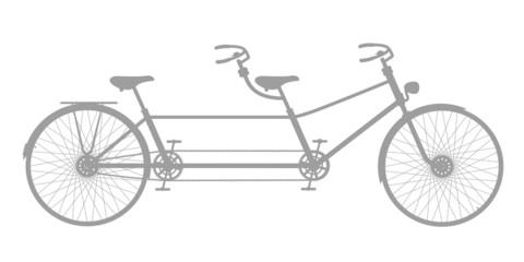 Retro tandem bicycle in grey design
