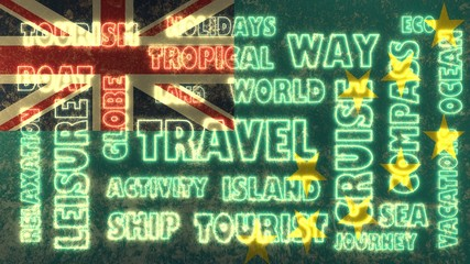 travel related tags cloud on tuvalu national flag