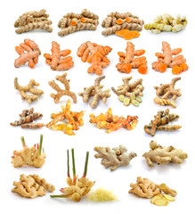 turmeric and ginger isolated on white background