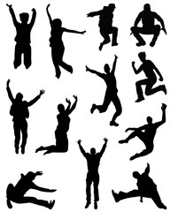 Black silhouettes of jumping people , vector