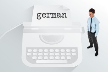 The word german and happy businessman