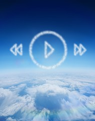 Composite image of cloud in shape of music player menu