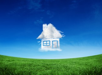 Composite image of cloud house