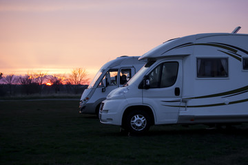 Camping Cars in Sunset