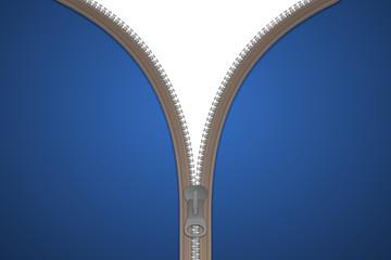 Reißverschluss Karte blau
