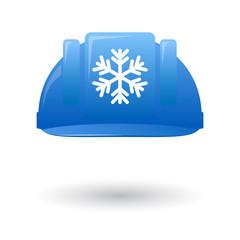 Blue work helmet with a snow flake